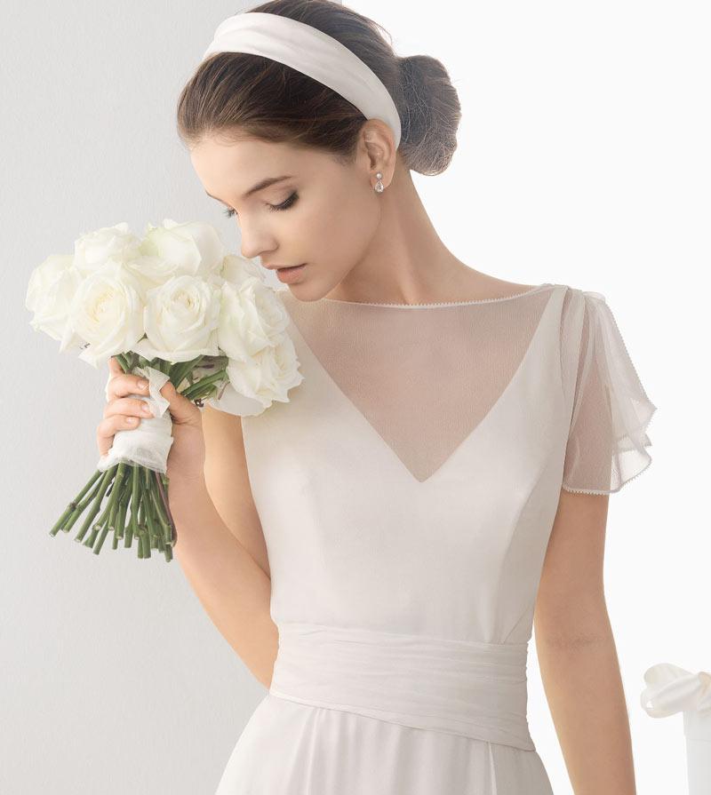 Elegantes langes weißes Brautkleider