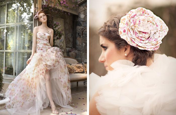 Brautkleider mit Blumen gedruckt