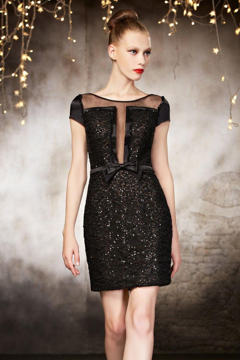 Schöne schwarzes kurzes Partykleider
