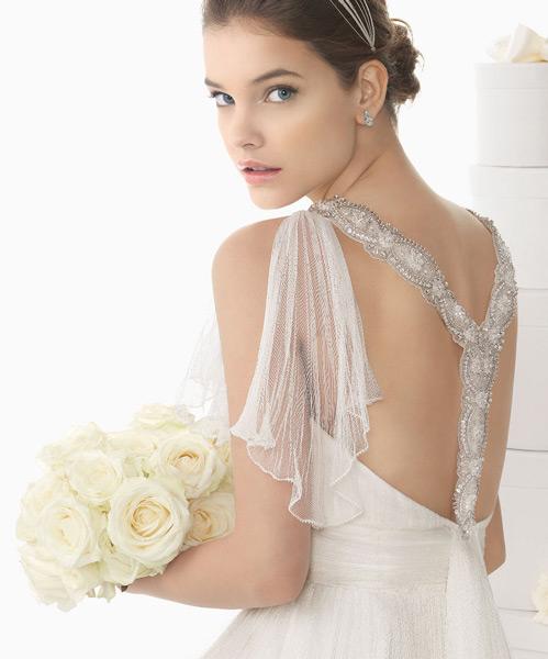 Modernes langes weißes Brautkleid 2015