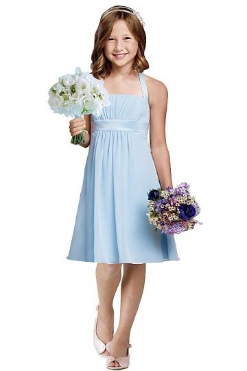 Elegantes Blaues Blumenmädchenkleider Online