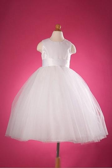 Elegantes Langes Weißes Blumenmädchenkleid