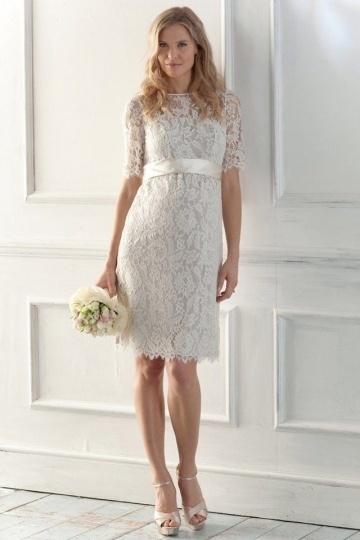 Elegantes Knielanges Brautkleider mit Ärmel