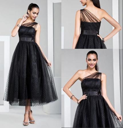 Schwarzes Ein Schulter Wadenlanges Abendkleider