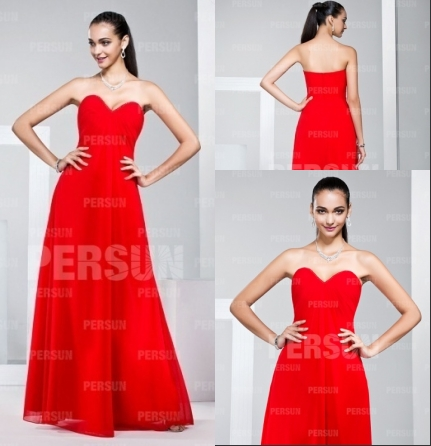 Schönes Rotes Herz Ausschnitt Abendkleider