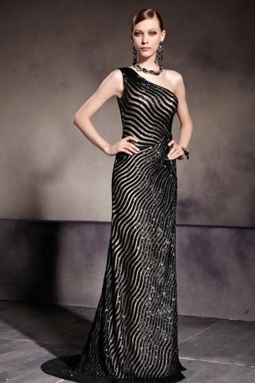 Elegantes Schwarzes Langes Ein Schulter Abendkleider