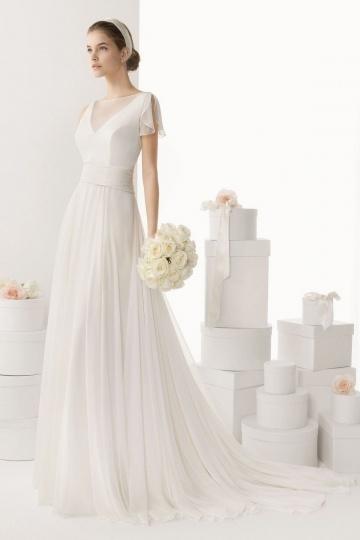 Schönes schlichtes Ivory A Linie Brautkleider Online