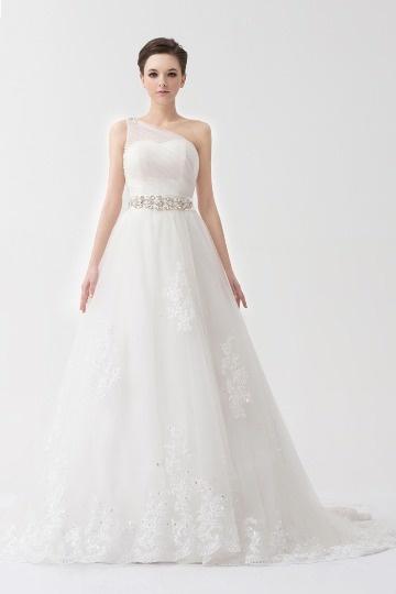Schönes Ivory A Linie Ein Schulter Brautkledier