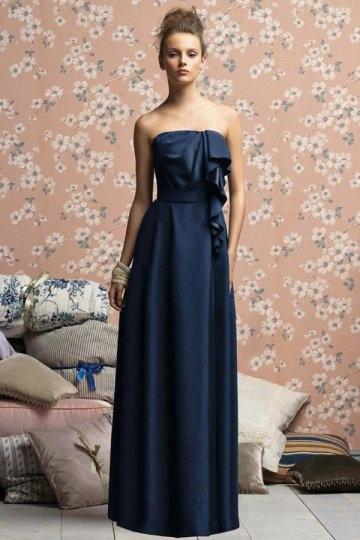 Schönes Blaues A Linie Trägerloses Blaues Brautjungferkleider