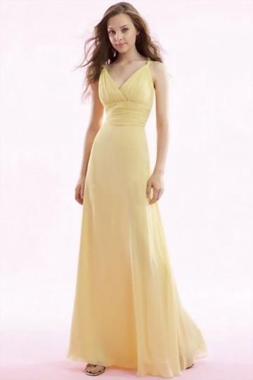 Schönes Gelbes Langes Brautjungferkleid