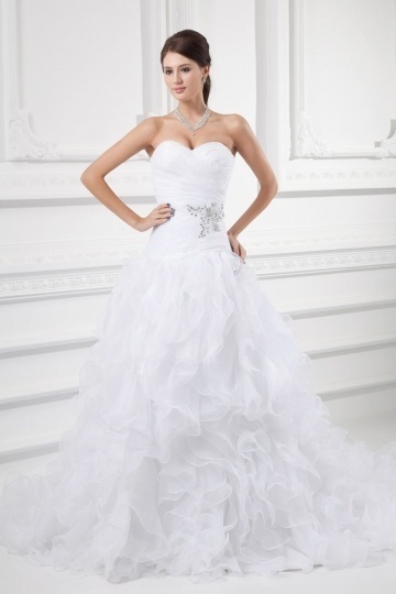 Schönes Weißes Sweetheart A Linie Brautkleider