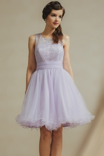 Schönes Lila Kurzes Tüll Brautjungferkleider Online