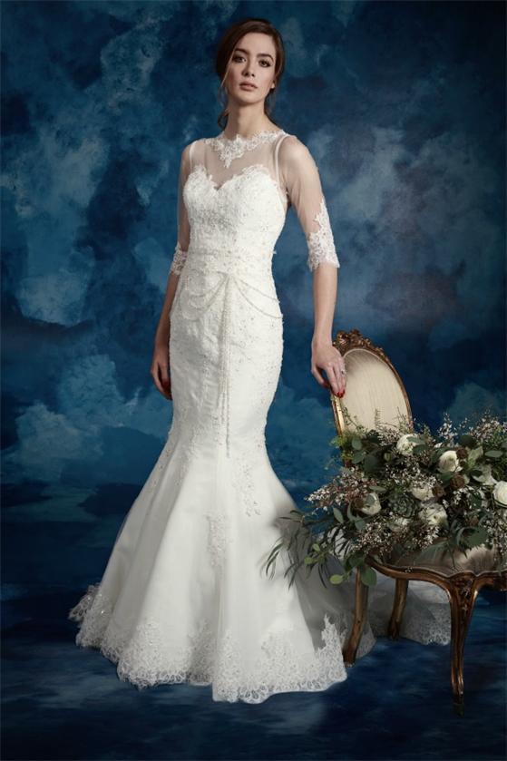 Meerjungfrau-Spitze-Brautkleid-Mit-Ärmeln