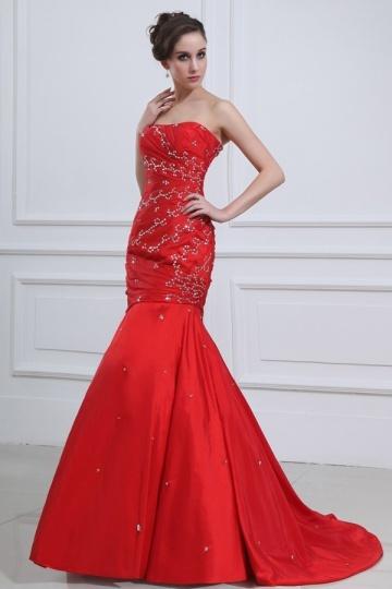 Trägerlos-Meerjungfrau-Brautkleid-Abendkleid-Rot-Persunkleid
