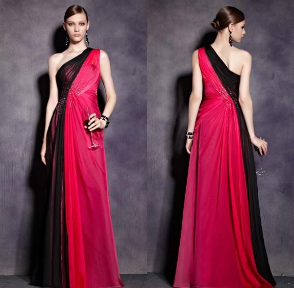 Ein Schulter langes rotes Abendkleid aus Tencel