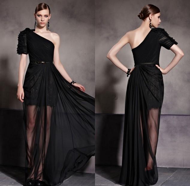 Sexy Ein Schulte schwarzes Abendkleider aus Tencel